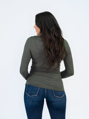 Long Sleeve Tall Henley - Olive