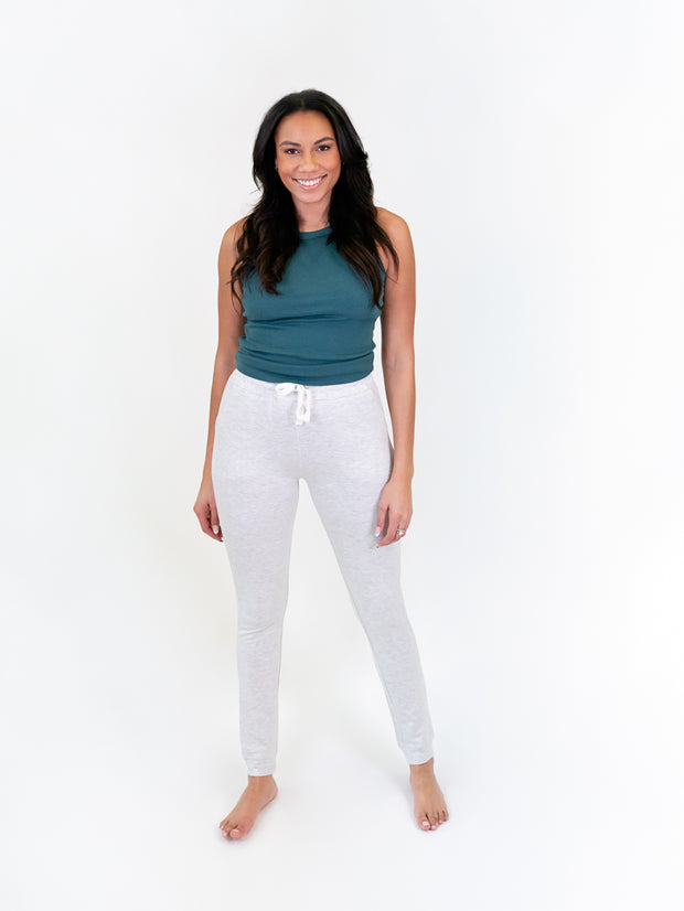 tall joggers for women - natural oat color