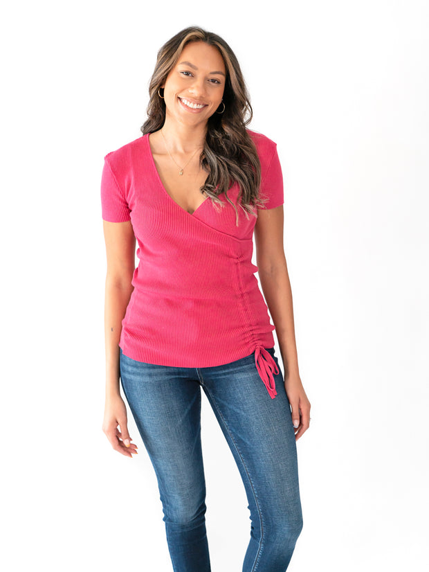 Short Sleeve Surplice Tall Top - Bright Berry