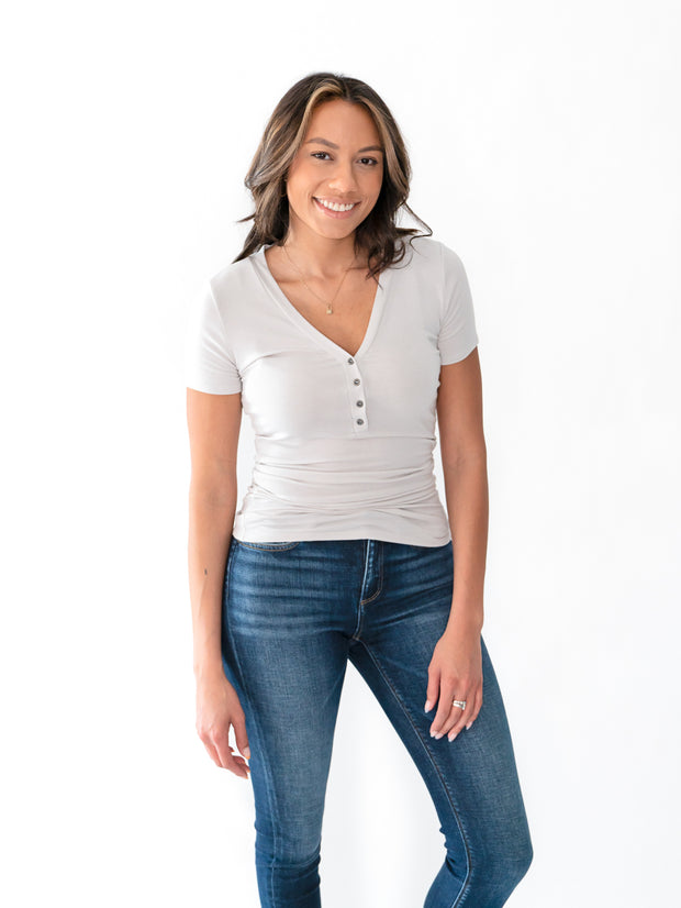 Short Sleeve Tall Henley - Taupe