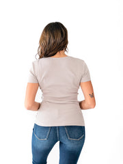 Short Sleeve Surplice Tall Top - Light Grey