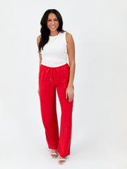 Tall Linen Blend Wide Leg Pant - Red