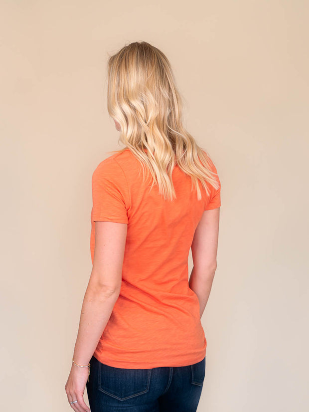 Orange v-neck t shirt for tall women back view