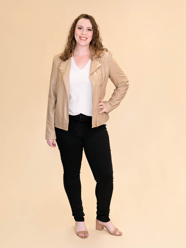 Tan Leather Jacket for Tall Women
