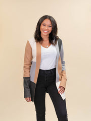 Colorblock Cardigan for Tall Ladies in Camel, Grey and Ivory Front View