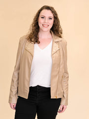 Tan Leather Jacket for Tall Women Front View