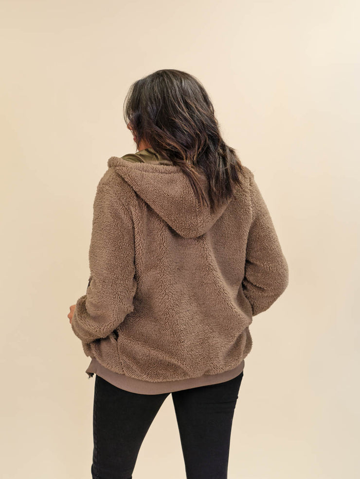 Tall Teddy Coat Brown Back View
