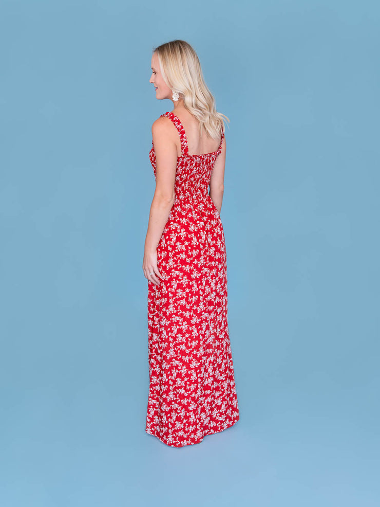 Tall women's maxi dress back shot