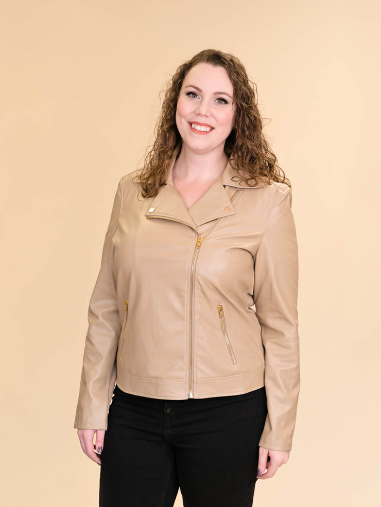Tan Leather Jacket for Tall Women zipped