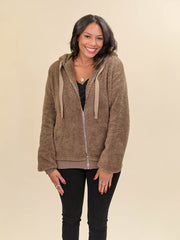 Tall Teddy Coat Brown Front View Zipped