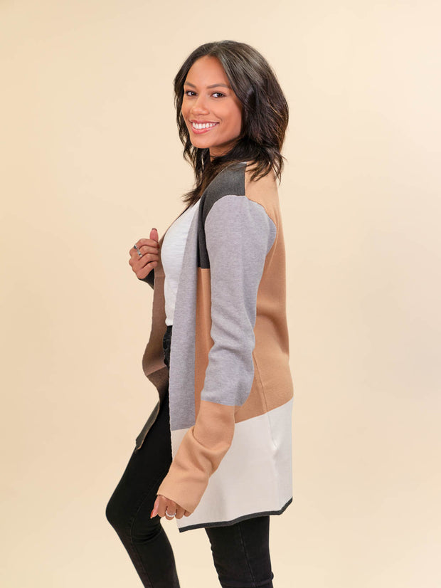 Colorblock Cardigan for Tall Ladies in Camel, Grey and Ivory Alternate Side View