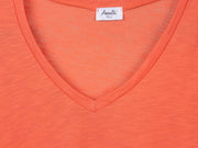 Orange v-neck t shirt for tall women fabric view