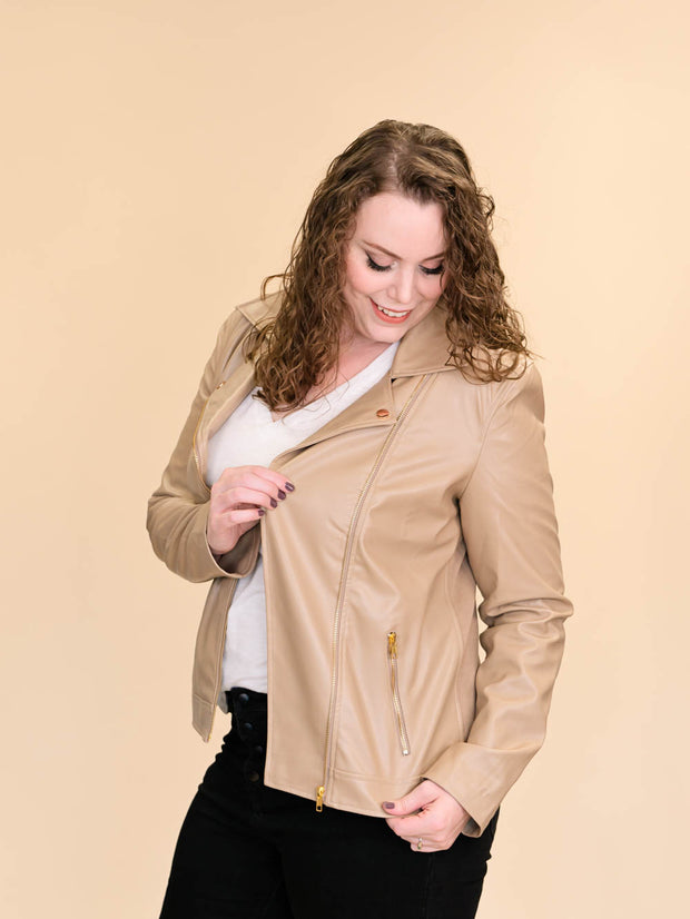 Tan Leather Jacket for Tall Women pocket detail