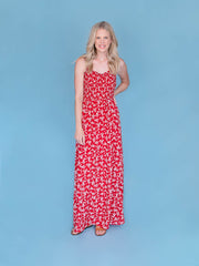 Tall women's maxi dress full shot on woman 6'4""