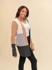 Colorblock Cardigan for Tall Ladies in Camel, Grey and Ivory