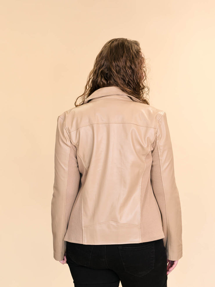 Tan Leather Jacket for Tall Women back
