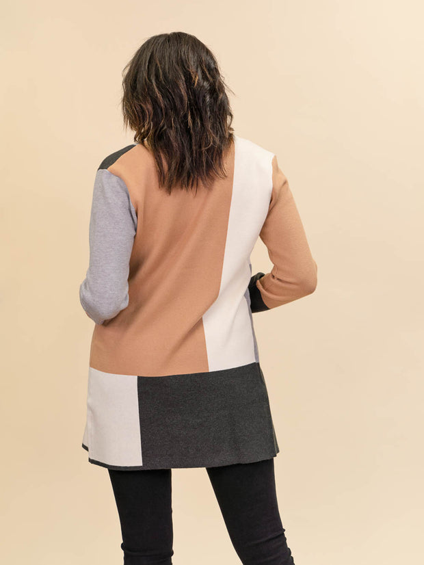 Colorblock Cardigan for Tall Ladies in Camel, Grey and Ivory Back View