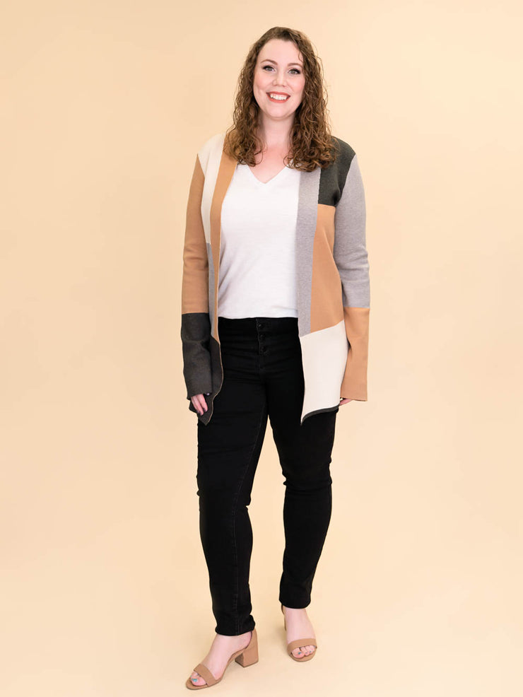 Colorblock Cardigan for Tall Ladies in Camel, Grey and Ivory Front Shot