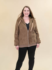Tall Teddy Coat Brown Zipped Full Length View