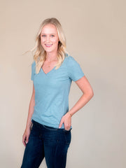 Stone Blue v-neck t shirt for tall women side view