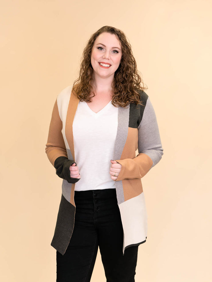 Colorblock Cardigan for Tall Ladies in Camel, Grey and Ivory Close UpView