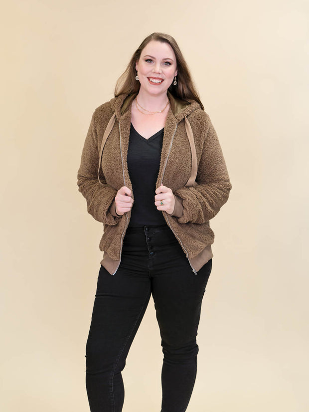 Tall Teddy Coat Brown Unzipped Full Front View