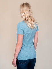 Stone Blue v-neck t shirt for tall women back view