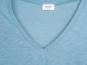 Stone Blue v-neck t shirt for tall women fabric view