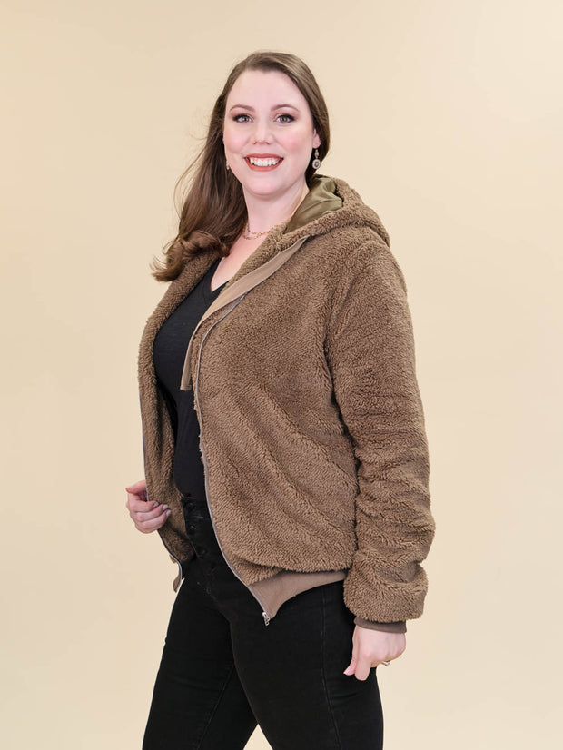 Tall Teddy Coat Brown Side View Unzipped