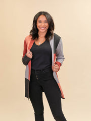 Colorblock Cardigan for Tall Ladies in Rust, Blush, Pink and Grey Front View