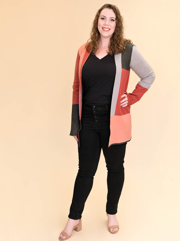 Colorblock Tall Women's Cardigan in Rust, Blush, Pink and Grey Front View