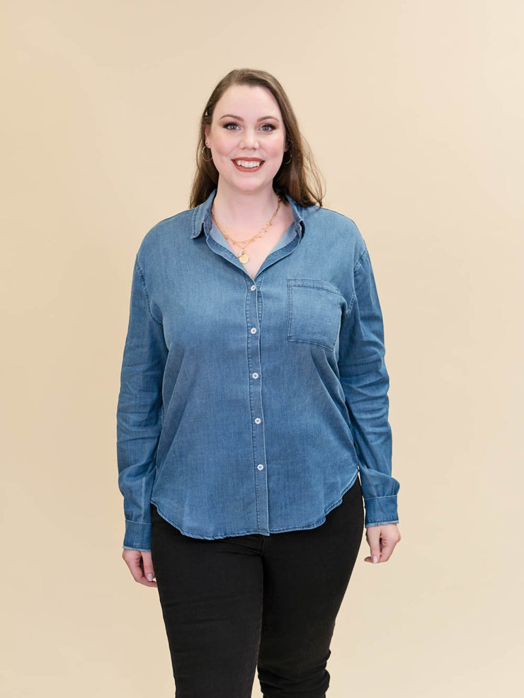 Tall Chambray Blouse Button Up Front View