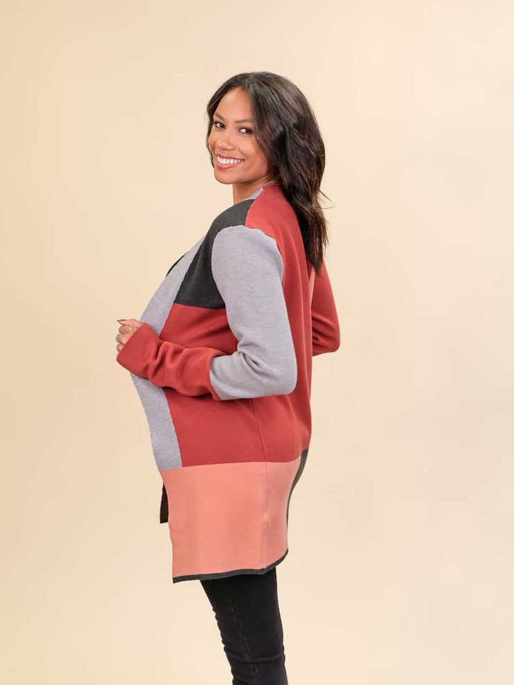 Colorblock Cardigan for Tall Ladies in Rust, Blush, Pink and Grey Side View