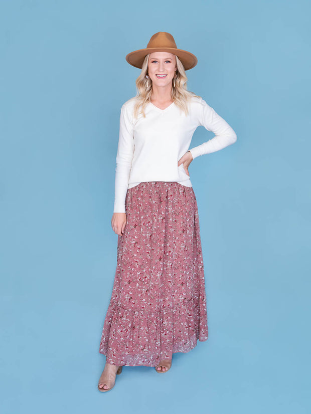 maxi skirt for tall women full shot