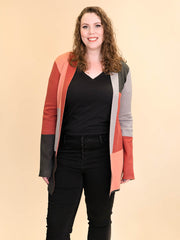 Colorblock Tall Women's Cardigan in Rust, Blush, Pink and Grey Close Up  View