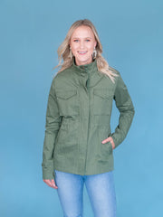 Women's Tall Utility Jacket Olive Zipped
