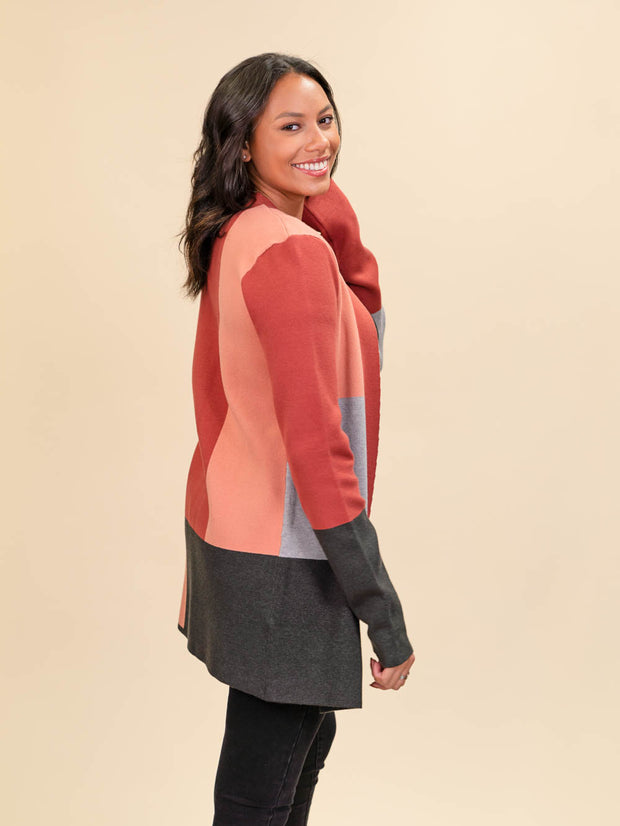 Colorblock Cardigan for Tall Ladies in Rust, Blush, Pink and Grey Alternate SideView