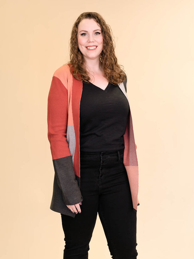 Colorblock Tall Women's Cardigan in Rust, Blush, Pink and Grey Side View