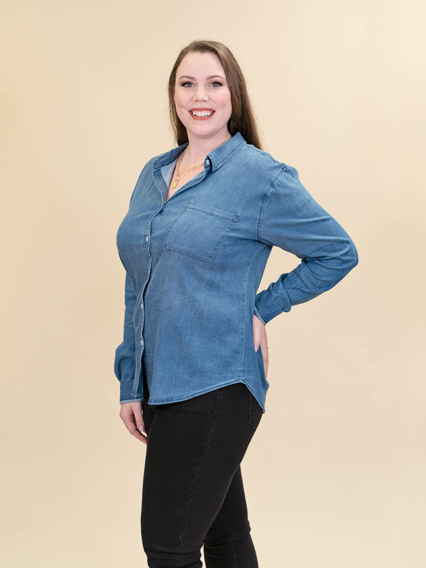 Tall Chambray Blouse Button Up Side Shot