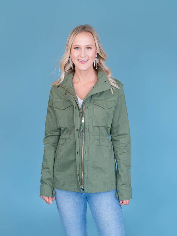 Women's Tall Utility Jacket Olive Front View