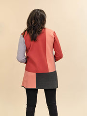 Colorblock Cardigan for Tall Ladies in Rust, Blush, Pink and Grey Back View