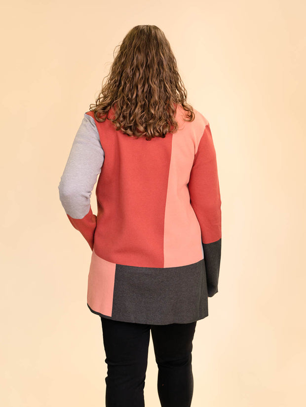 Colorblock Tall Women's Cardigan in Rust, Blush, Pink and Grey Back View
