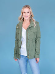 Women's Tall Utility Jacket Olive Unzipped
