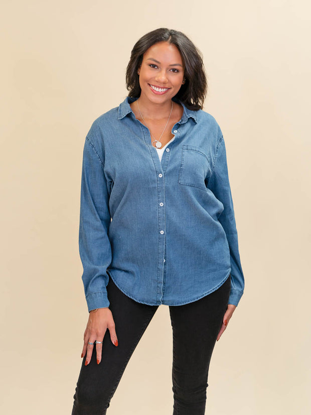 Tall Chambray Blouse Button Up Front Shot