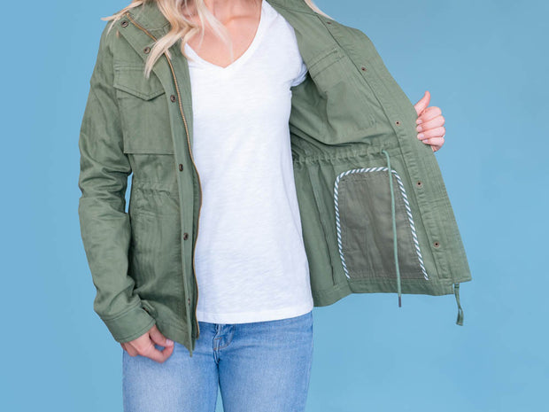 Women's Tall Utility Jacket Olive Inside View