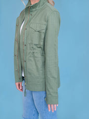 Women's Tall Utility Jacket Olive Sleeve Length