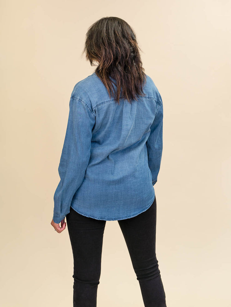 Tall Chambray Blouse Button Up Back View