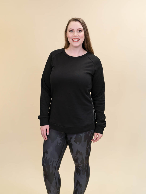 Tall Black Side Zip Crewneck Sweatshirt for Women Front View