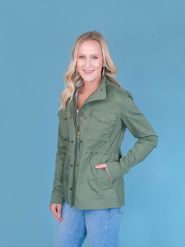 Women's Tall Utility Jacket Olive Side View