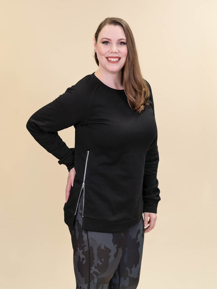 Tall Black Side Zip Crewneck Sweatshirt for Women Side View
